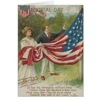 Victorian Couple Raising US Flag Card