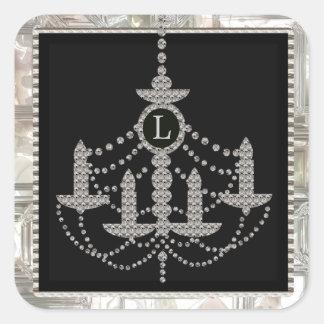 Victorian Crystal Chandelier Wedding Monogram Square Sticker