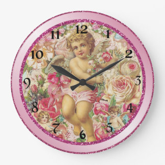 Victorian Cupid and Roses Floral Large Clock