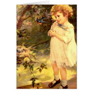 Victorian cutie with birds card