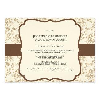 Victorian Damask (Mocha & Cream) Weddin Invitation