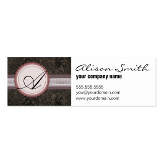 Victorian damask monogram pack of skinny business cards
