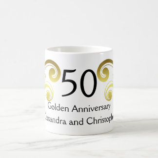 Victorian damask swirls golden wedding anniversary coffee mug