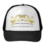 Victorian damask swirls golden wedding anniversary mesh hats