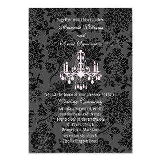 Victorian Damask Wedding Invitation (pink)