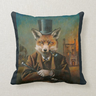 Victorian Dapper Fox Throw Cushion