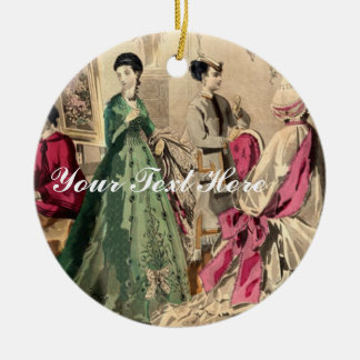 Victorian Dress With Pink Bow Christmas Tree Ornaments