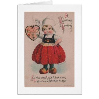Victorian Dutch Girl Valentine's Day Card