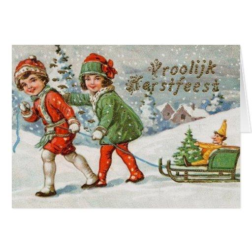 Victorian Dutch Vroolijk Kerstfeest Christmas Card   Zazzle