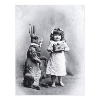 Victorian Easter Bunny with Girl Postcard