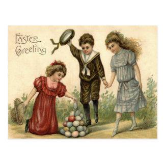 Victorian Easter Colored Decorated Egg Basket Postcard