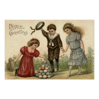 Victorian Easter Colored Decorated Egg Basket Print