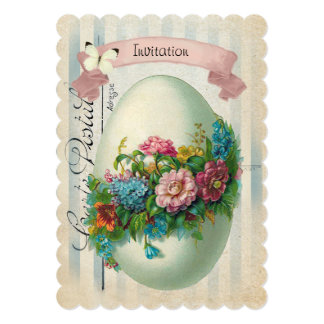Victorian Easter Flower Egg Easter Egg Hunt 13 Cm X 18 Cm Invitation Card