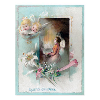 Victorian Easter with Woman at Piano and Cherubs Postcard