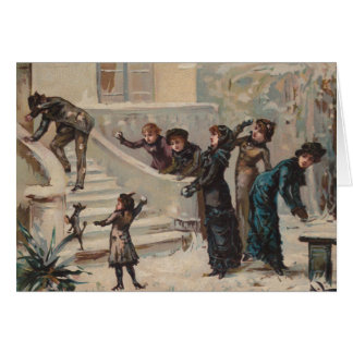 Victorian Edwardian Snowball Fight Holiday Card