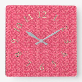 Victorian-Elegant-Rose-Gold-Round-SQ Square Wall Clock