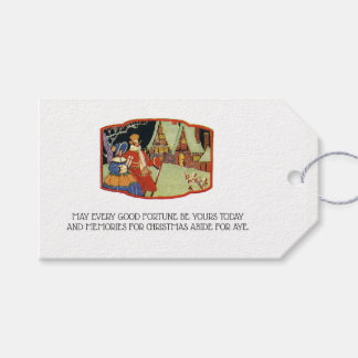 Victorian Era Christmas Good Fortune Holiday Garb Gift Tags