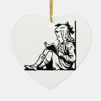 Victorian Era Girl Reading A Book Ceramic Ornament