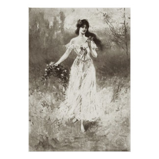 Victorian Era - Lady With Flowers Poster
