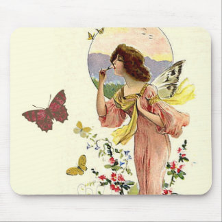 Victorian Fairy and Butterflies Mouse Pad