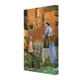 Victorian Family, A Garden in Cookham by Pinwell Stretched Canvas Print