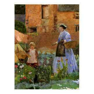 Victorian Family, A Garden in Cookham by Pinwell Postcard