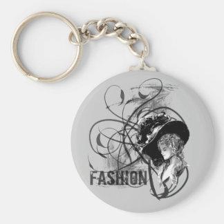 Victorian Fashion Basic Round Button Key Ring