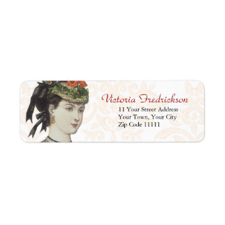 Victorian Fashion Plate Detail - Beautiful Lady Return Address Label