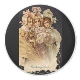Victorian Fashion Vintage Christmas Ceramic Knob