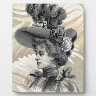 Victorian Feathers Peach Gray Woman Hat Photo Plaques