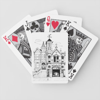 Victorian Fire Station deluxe black and white Bicycle Playing Cards