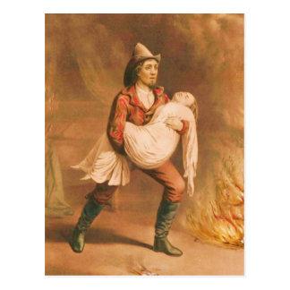 "Victorian Firefighter 3 ""The American Fireman"" Postcard"