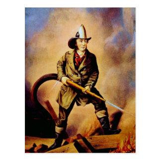 "Victorian Firefighter ""The American Fireman"" Postcard"