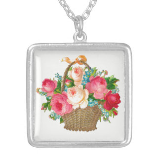 Victorian Floral Basket Necklace