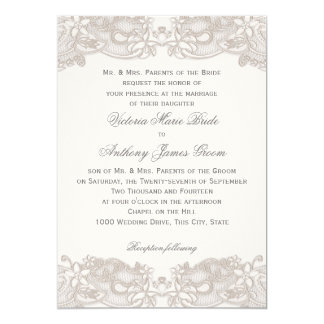 Victorian Floral Lace on White Design Wedding Card