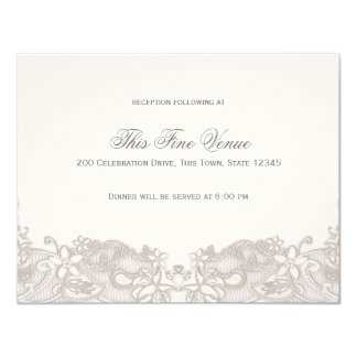Victorian Floral Lace Taupe Reception Card