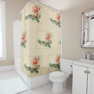 Victorian Floral Pastel Peach Roses Shower Curtain