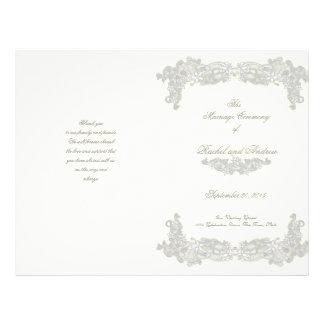 Victorian Floral Silver Gray Wedding Program Flyer