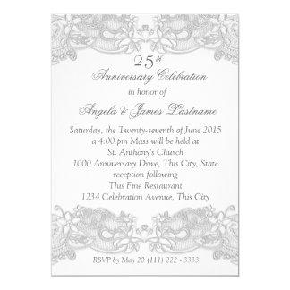 Victorian Floral Silver Wedding Anniversary Card