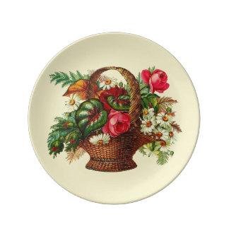 Victorian Flower Basket Porcelain Plate