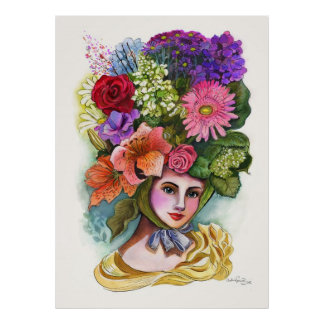Victorian Flower Lady Watercolor Painting Poster