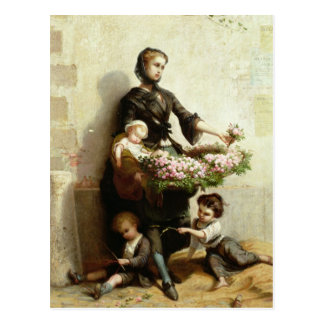 Victorian Flower Seller Postcard