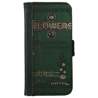 Victorian Flowers Old Book Cover Monogram iPhone 6 Wallet Case