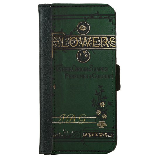 Old Book Case For Iphone : Victorian flowers old book cover monogram iphone wallet
