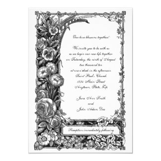 Victorian Flowers Wedding Invitation