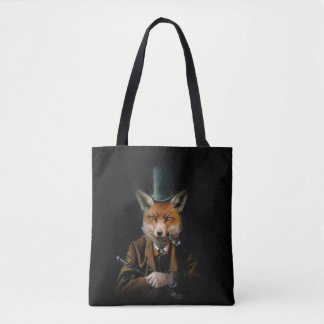 Victorian Fox All Over Print Tote Bag