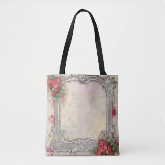 Victorian Frame w Red Roses silver ivory lace Tote Bag