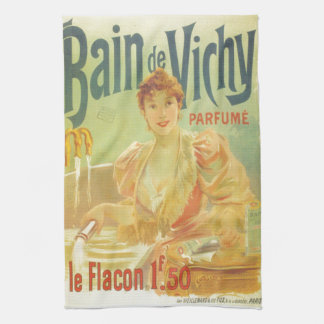 Victorian French bathtub advertisement woman Tea Towel