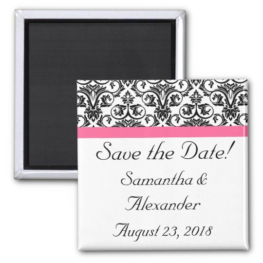Victorian Fuchsia Pink and White Damask Square Magnet