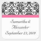 Victorian Fuchsia Pink and White Damask Square Sticker